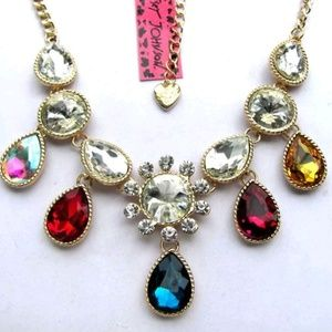 Betsey Johnson Crystal Glass Bib Necklace